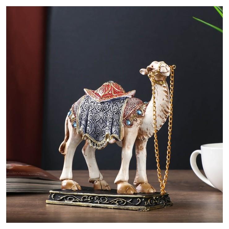 Сувенир полистоун Песочный верблюд в ажурной накидке 16,5х15,7х5,7 см NNB