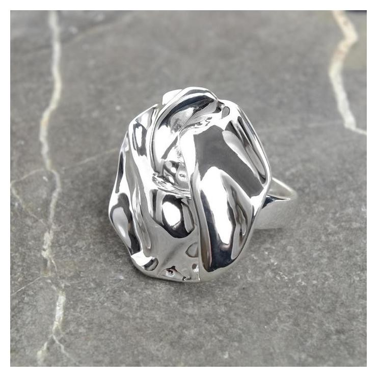 Кольцо Атмосфера мятый круг, размер 20, цвет серебро NNB
