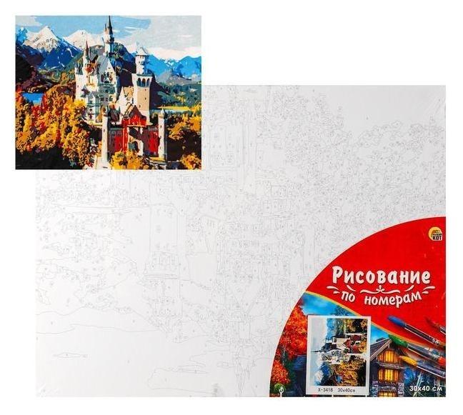 Палитра. холст с красками 30х40 см по номерам, в плёнке «Европейский замок в горах» Рыжий кот