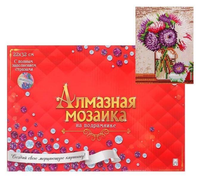 Алмазная мозаика 22х32 см, C подрамником, с полным заполнением, 21 цвет «Красивые цветы» Рыжий кот