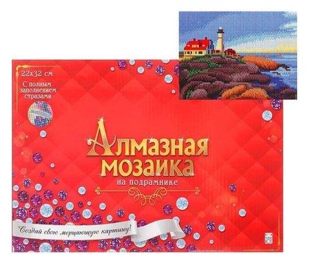 Алмазная мозаика 22х32 см, C подрамником, с полным заполнением, «Маяк на берегу» Рыжий кот