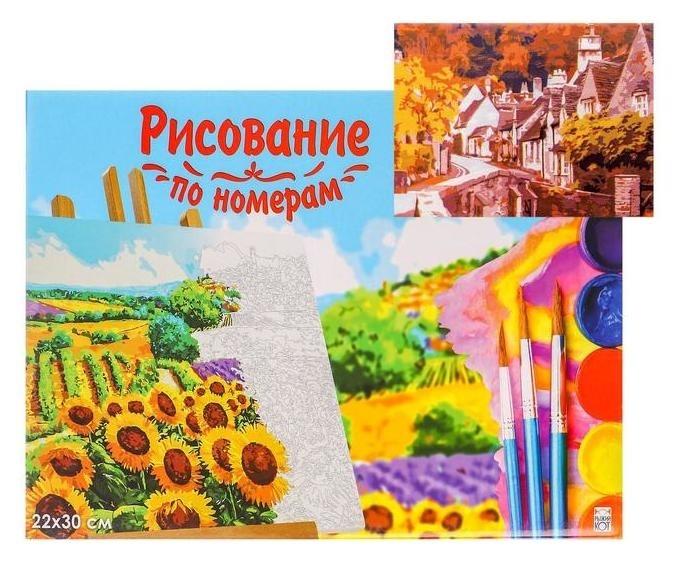 Холст с красками по номерам 22×30 см «Английский осенний пейзаж» Рыжий кот