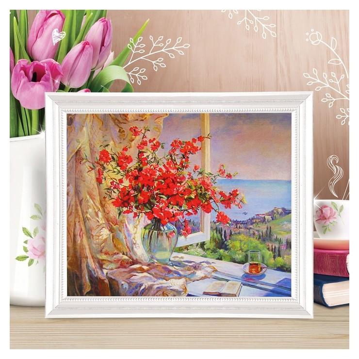 Роспись по холсту Букет у окна по номерам с красками по 3 мл+ кисти+инстр+крепеж 30*40 Школа талантов