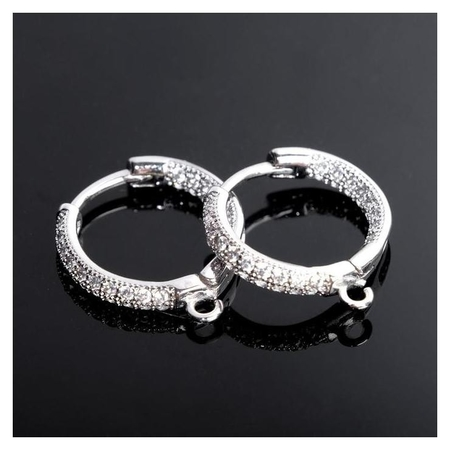 Швензы родированные Кольцо со стразами, цвет белый в серебре NNB