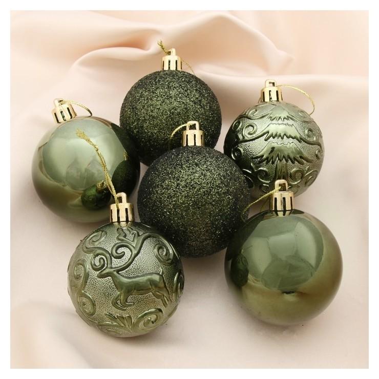 Набор шаров пластик D-6 см, 12 шт Олень в кружевах зелёный Зимнее волшебство