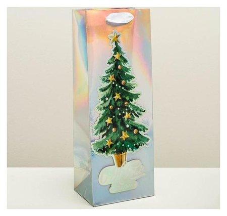 Пакет голографический под бутылку «Новогоднее настроение», 13 × 36 × 10 см Дарите счастье