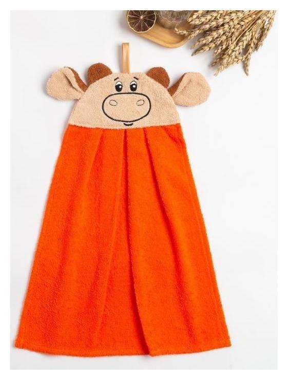 """Полотенце-рушник махровый """"Бычок"""" 43х35см, оранжевый, хл100%, 300 г/м  Гранд-стиль"""
