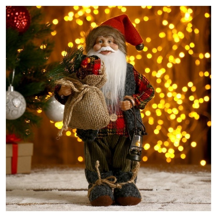 Дед мороз в клетчатой шубке с фонариком и мешком 30 см Зимнее волшебство
