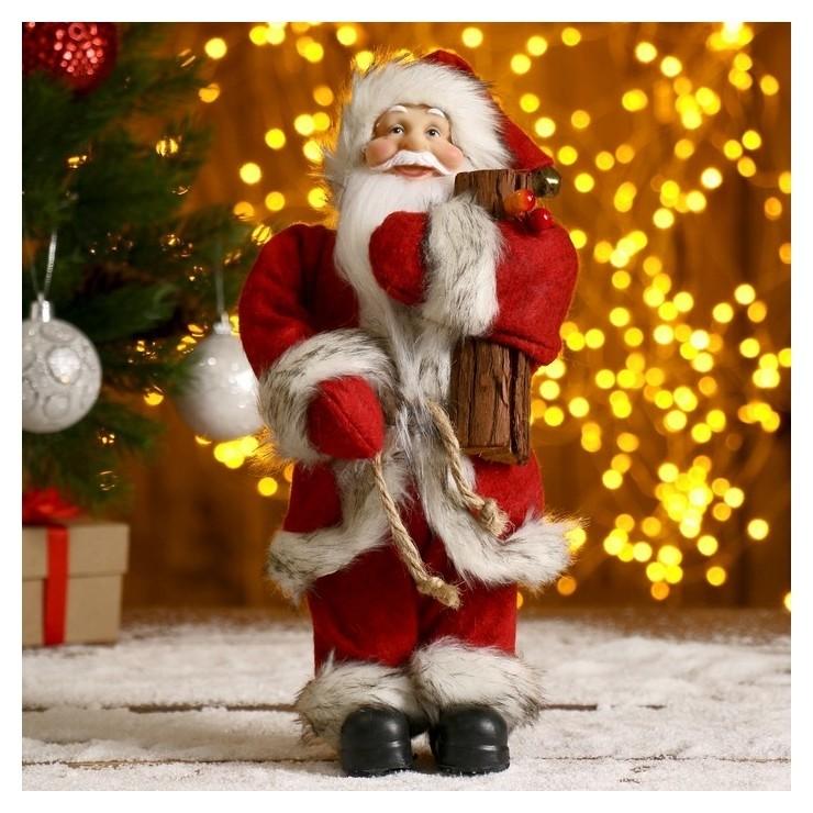 Дед мороз в красной шубке с брёвнышком 29 см Зимнее волшебство