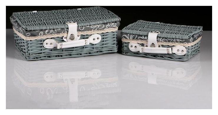 Набор чемоданы плетеные, набор из 2 шт.42х27х15hх40х25b см,32х21х11hх30х19.5b см: ива, ткань NNB
