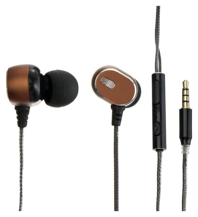 Наушники Ritmix Rh-182m, вакуумные, микрофон, 95 дБ, 32 Ом, 3.5 мм, 1.2 м, коричневые Ritmix