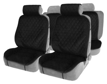 Накидки на сиденья, перед+зад, велюр, черный, набор 5 шт  NNB