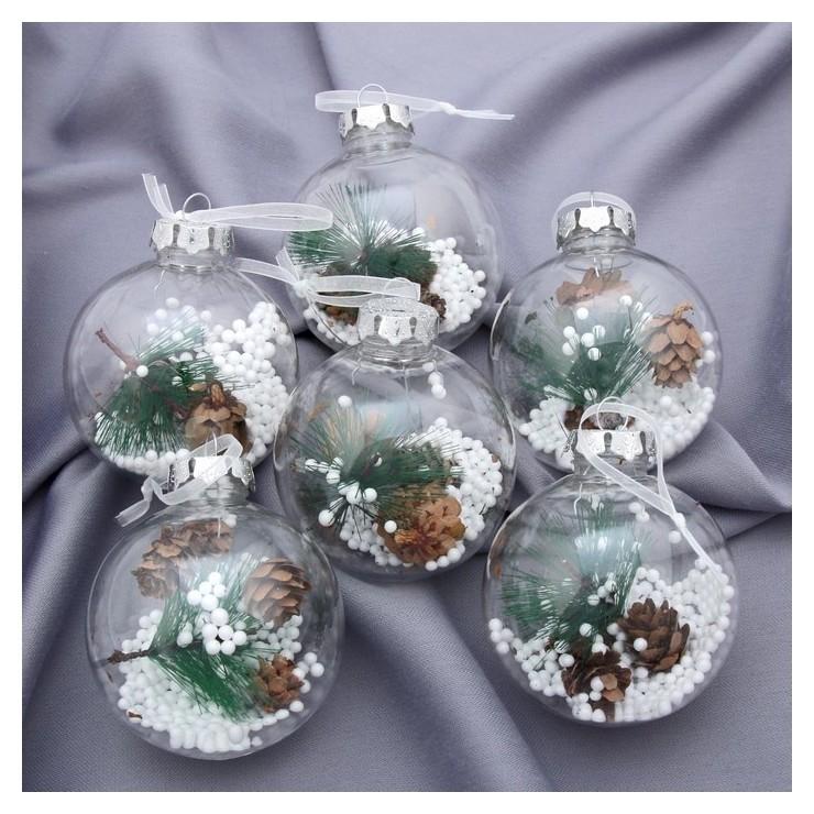 Набор шаров пластик D-8 см, 6 шт Льдинка - шишки Зимнее волшебство