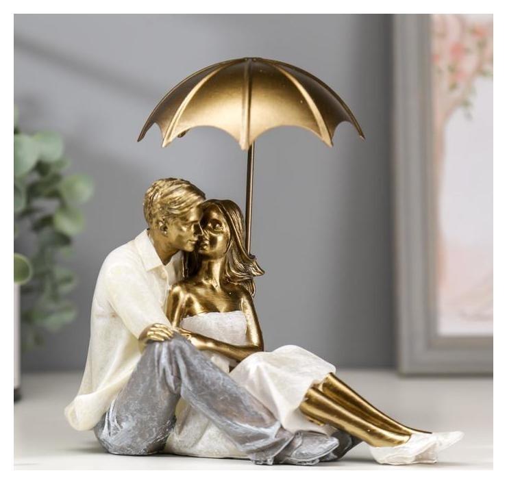 Сувенир полистоун романтика Влюблённые целуются под зонтом беж 18х10х18 см NNB