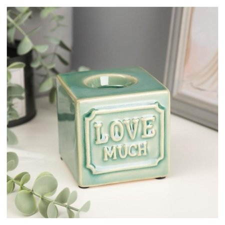 Подсвечник керамика на 1 свечу Люблю сильно 8х8,2х8,3 см NNB
