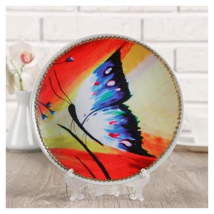Тарелка декоративная Бабочка,с рисунком на холсте, D = 20 см NNB