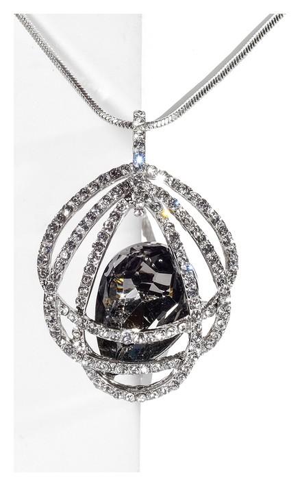 """Кулон """"Свидание"""" овал, цвет бело-серый в серебре, L=70  Queen Fair"""