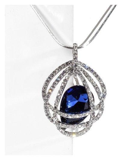 """Кулон """"Свидание"""" овал, цвет бело-синий в серебре, L=70  Queen Fair"""