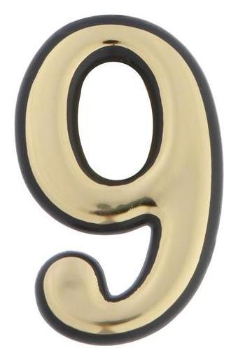 "Цифра дверная ""9"" Tundra, пластиковая, цвет золото, 1 шт.  Tundra"