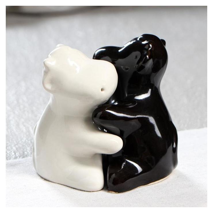 """Набор для специй """"Бычки"""", символ года 2021, черно-белые, 10 см  Керамика ручной работы"""