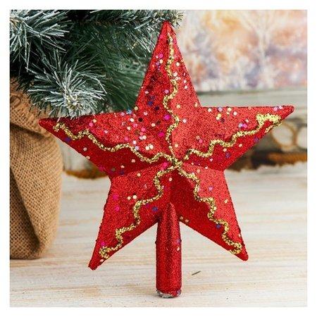 """Наконечник """"Звезда"""" волны и конфетти 18,5*19,5 см, красный  Зимнее волшебство"""