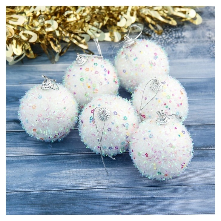 Набор шаров пластик D-6 см, 6 шт Пушистый блеск белый Зимнее волшебство