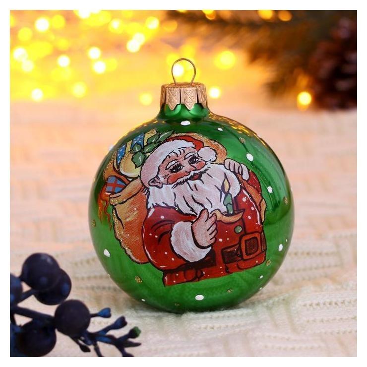 Шар Дед мороз с елкой 8 см NNB