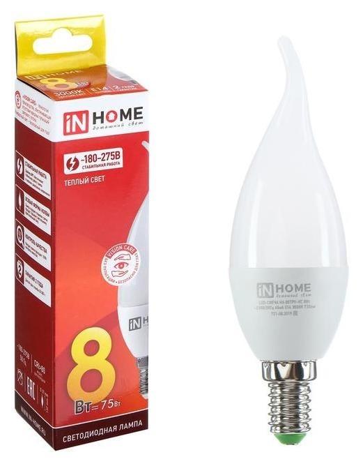 Лампа светодиодная IN Home Led-свеча НА ветру-vc, е14, 8 Вт, 230 В, 3000 К, 720 Лм INhome