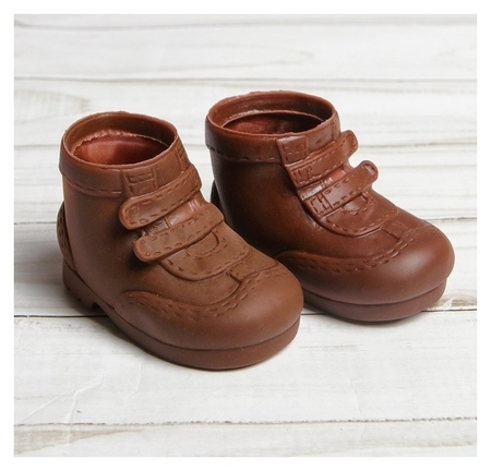 Ботинки для куклы Липучки, длина подошвы 7,5 см, 1 пара, цвет коричневый NNB