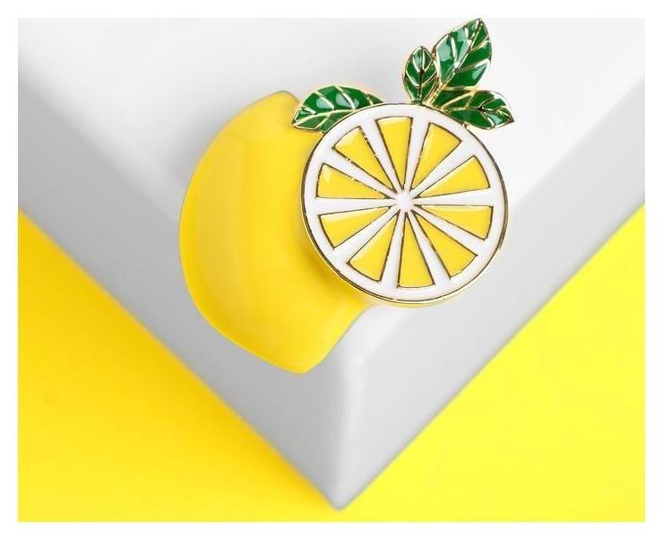 Брошь Лимон сочный, цветной в золоте NNB