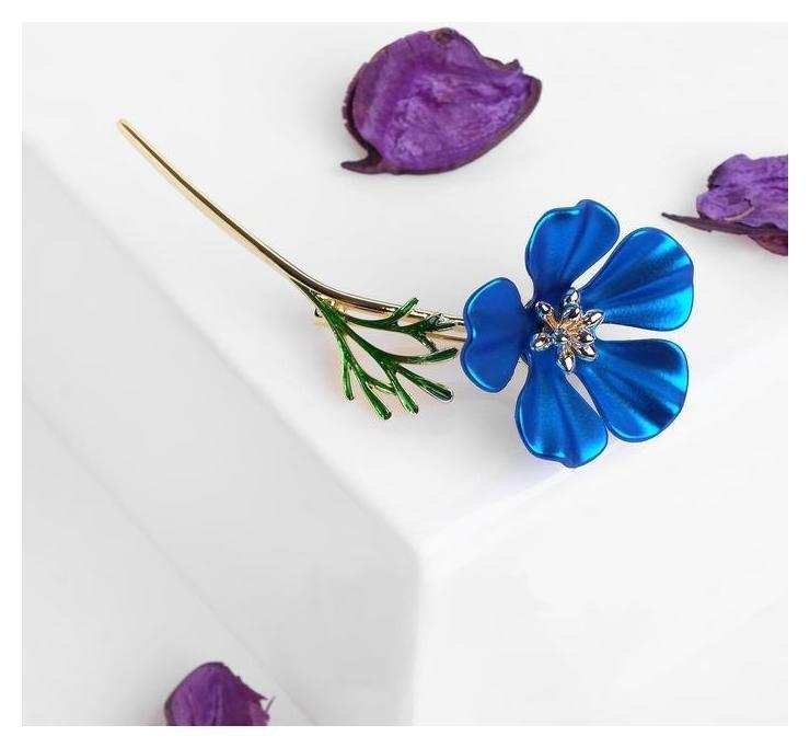 Брошь Цветочек полевой, цвет синий в золоте NNB