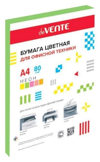 Бумага цветная А4, 50 листов, Devente, 80г/м², неоновый зелёный, в пакете  deVente