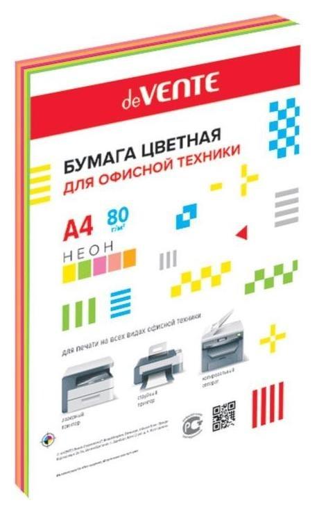 Бумага цветная А4, 100 листов, Devente, 5 цветов, 80г/м², неоновые цвета, в пакете  deVente