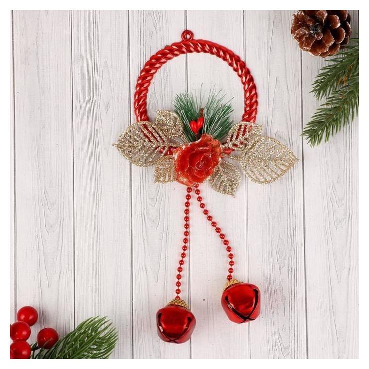 Украшение новогоднее Зимний цветок кольцо и шарики, 8х24 см Зимнее волшебство