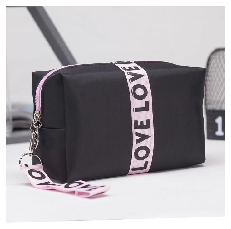 Косметичка дорожная, отдел на молнии, с ручкой, цвет чёрный/розовый NNB