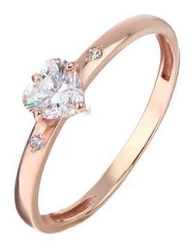Кольцо Сердце позолота, размер 17 Алмаз-холдинг