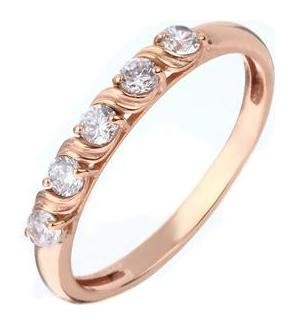 Кольцо Дорожка 5 страз, позолота, размер 18 Алмаз-холдинг