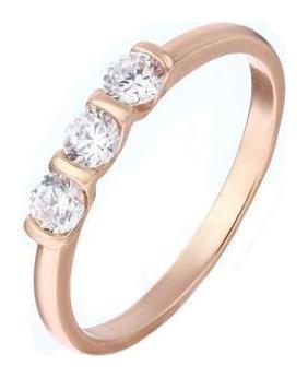 Кольцо Трио ряд, позолота, размер 18 Алмаз-холдинг