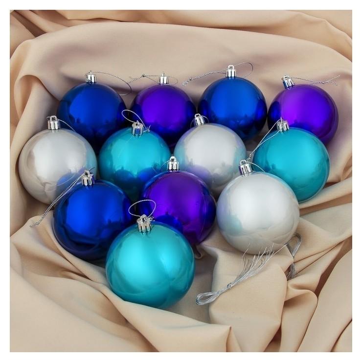 Набор шаров пластик D-8 см, 12 шт Глянец серебристо-синий Зимнее волшебство