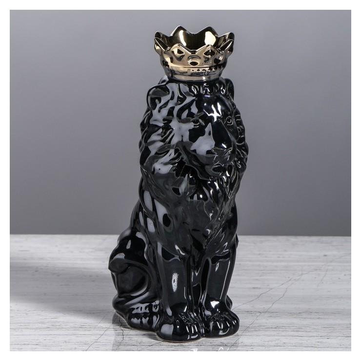 Копилка Лев с короной, глянец, черная, 25 см Керамика ручной работы