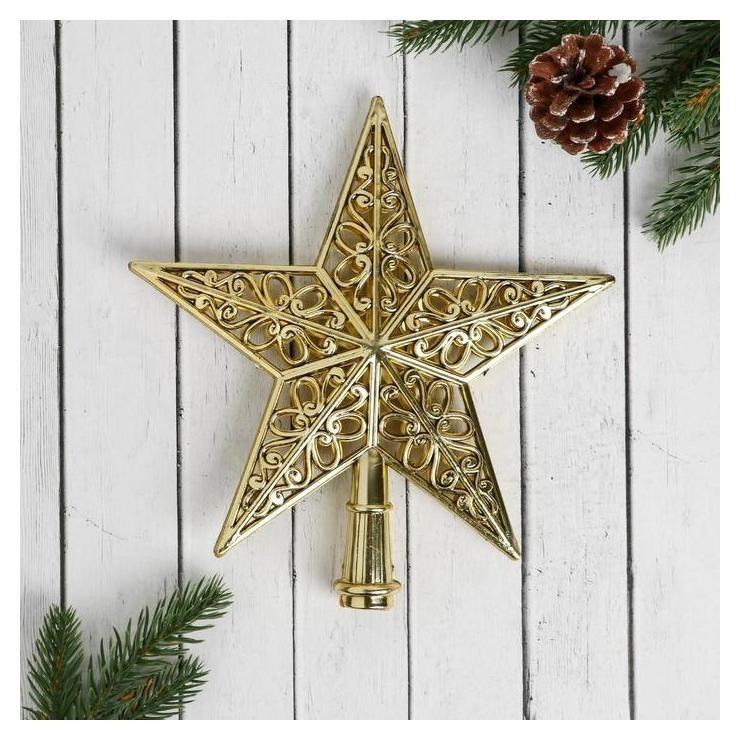 Наконечник Звезда рельефный узор 19*22 см, золото Зимнее волшебство