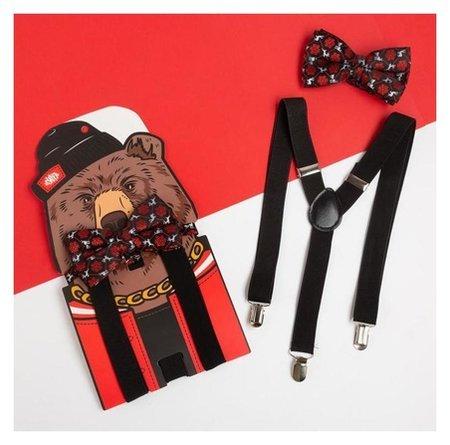 """Набор мужской Kaftan подтяжки и галстук-бабочка """"Медведь""""  Kaftan"""