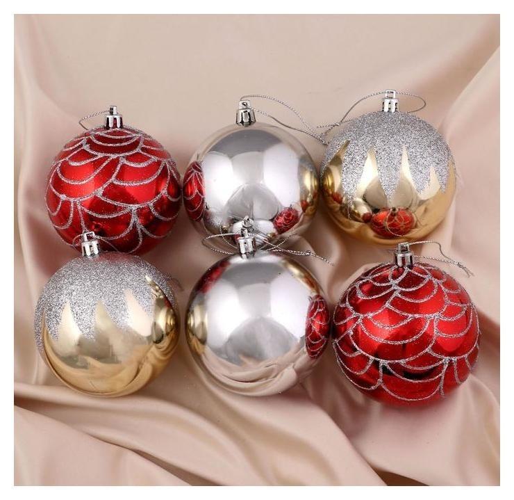 Набор шаров пластик D-8 см, 6 шт Сопрано красный, золото, серебро Зимнее волшебство