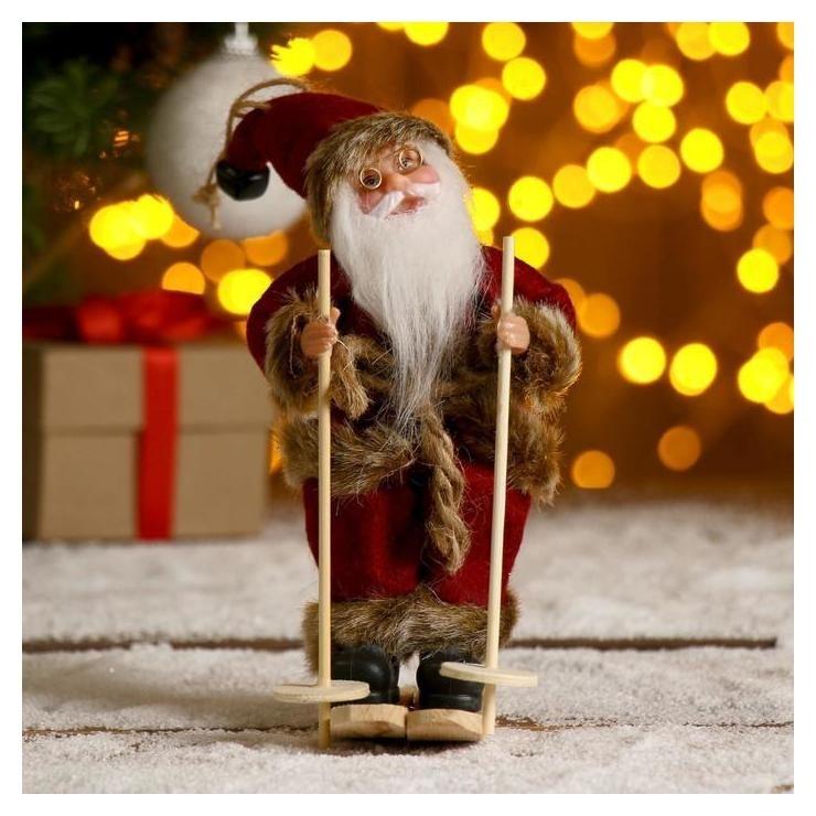 Дед мороз На лыжах в бордовом костюме 17 см Зимнее волшебство