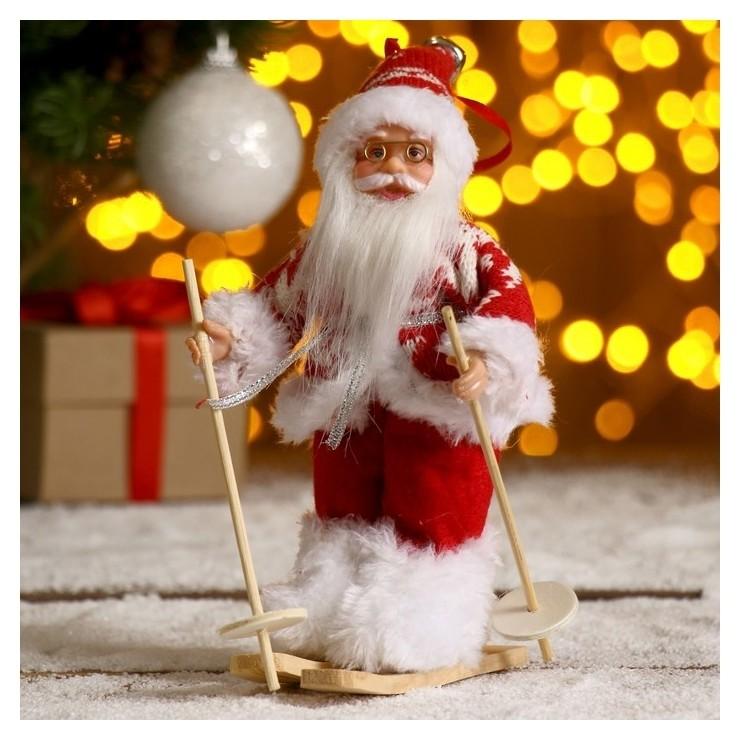 Дед мороз На лыжах в вязаном костюме 17 см Зимнее волшебство