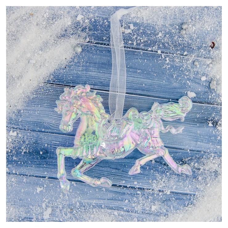 Украшение ёлочное Конь перелив 9х12 см Зимнее волшебство