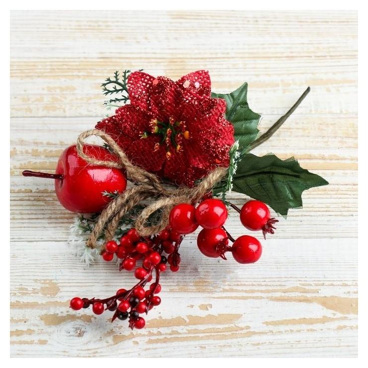 Декор Зимняя магия цветок ягоды листья 21 см Зимнее волшебство