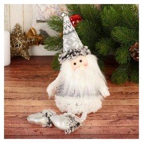 """Мягкая игрушка """"Дед мороз - ножки из бусинок"""" 9*27 см серо-белый"""