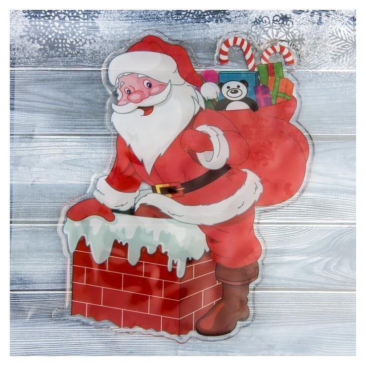 Наклейка на стекло Дед мороз в дымоходе 14х17 см Зимнее волшебство