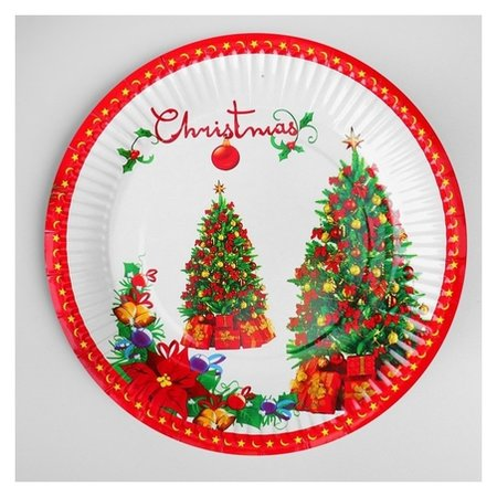 Тарелка бумажная «Ёлка с подарками», набор 6 шт.  Страна Карнавалия